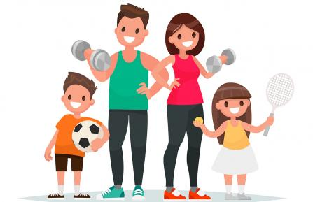Cartoon image of a family exercising