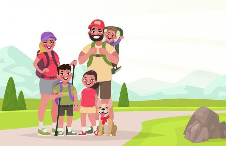 Cartoon image of family hiking