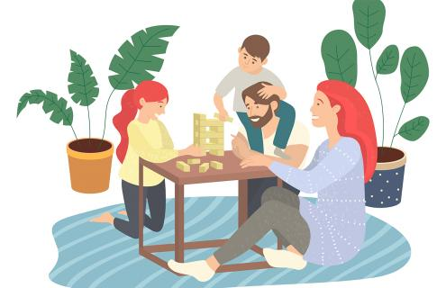 Illustration of family playing a game